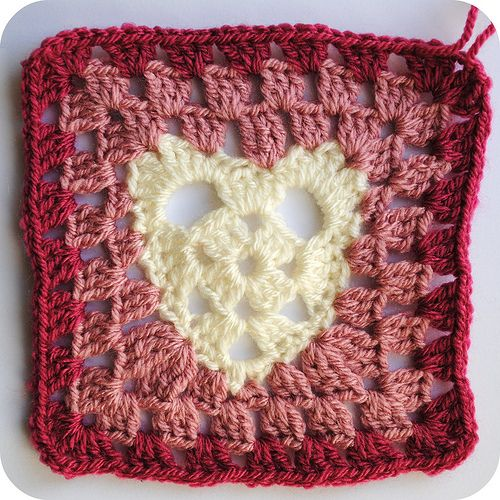 Crochet Granny Square Heart Patterns : heart granny square Crochet Granny Squares and other ...
