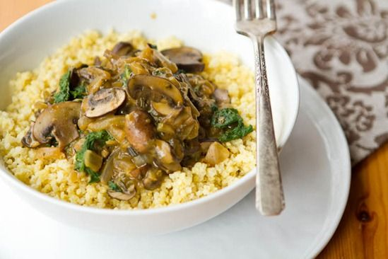 Millet Bowl with Mushroom Gravy and Kale - Vegan