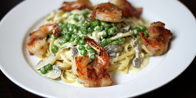 Bacon Wrapped Shrimp Pasta w/ Mushroom Chipotle Cream Sauce