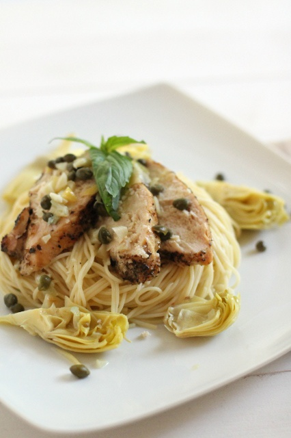 Chicken artichoke and capers with angle hair pasta (how to feed an ...