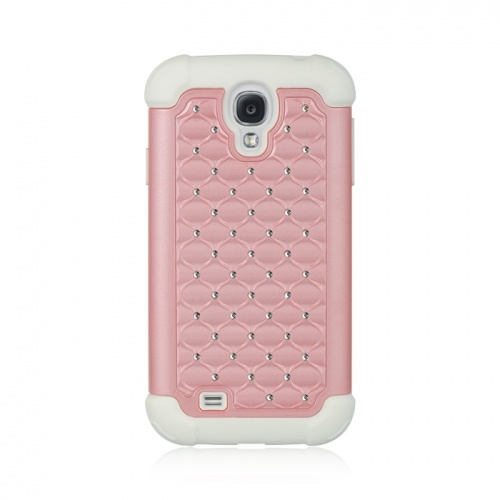 Samsung Galaxy S IV/ Galaxy S4 Light Pink/White Studded Diamante Case