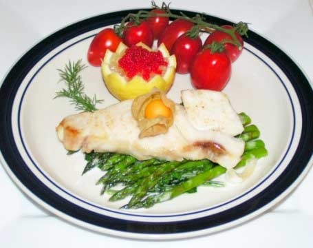 sea bass...cover in tin foil and bake at 400 for 25 min, top with ...