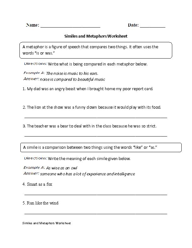 Similes and Metaphors Worksheet | Englishlinx.com Board | Pinterest