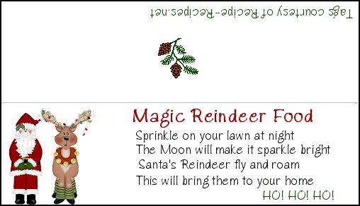 Magic Reindeer Food Label | Reindeer Food and Snowman Soup! | Pintere ...