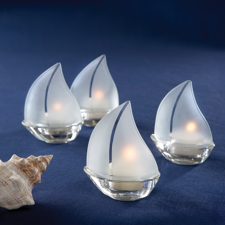 Kate Aspen 20060na Frosted Glass Sailboat Tea Light