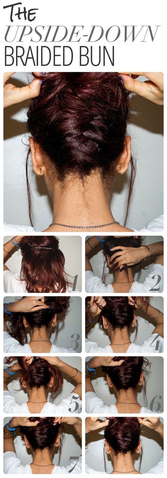 diy prom hairstyles : DIY Upside Down Braided Bun Hairstyle beauty tips Pinterest