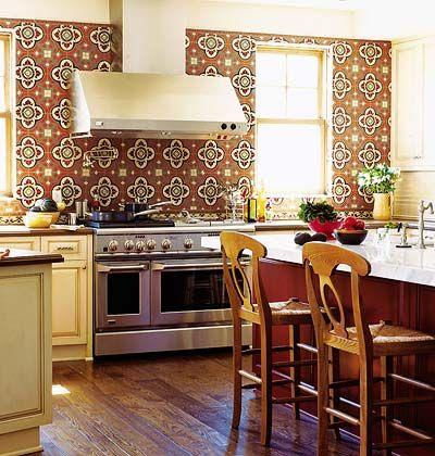 wallpaper backsplash for kitchen home pinterest