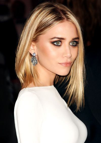 Olsen...classic chic angled reverse bob with center part