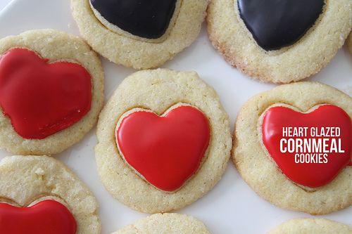heart glazed cornmeal cookies | cookies | Pinterest