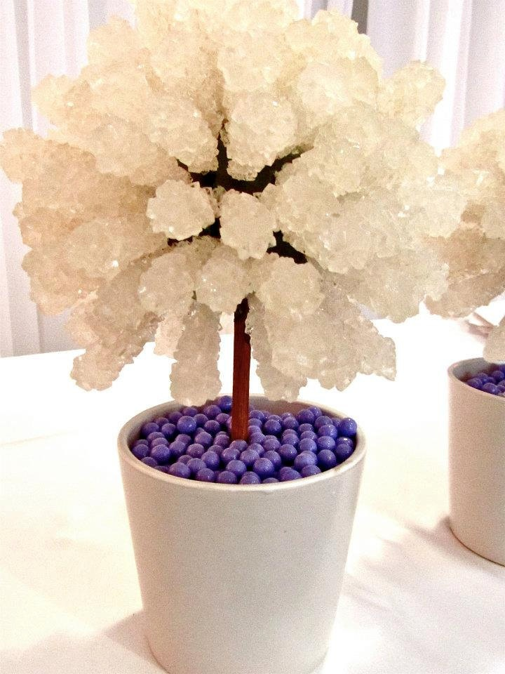 Rock candy centerpiece topiary tree buffet decor