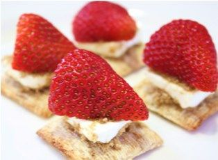 i am thinking mini grahams,cream cheese frosting of some sort and the strawberry! Strawberry Appetizers Easy appetizer -- tastes just like cheesecake!