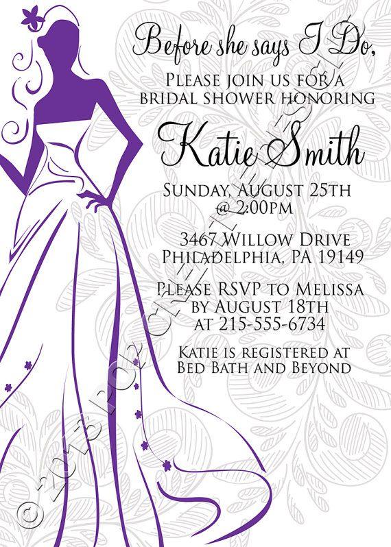 Wording Bridal Shower Invitation Bride DIGITAL FILE by ...
