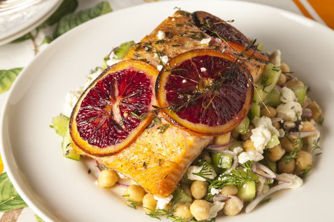 Blood Orange Roasted Salmon with Chickpea & Cucumber Salad (the salad ...