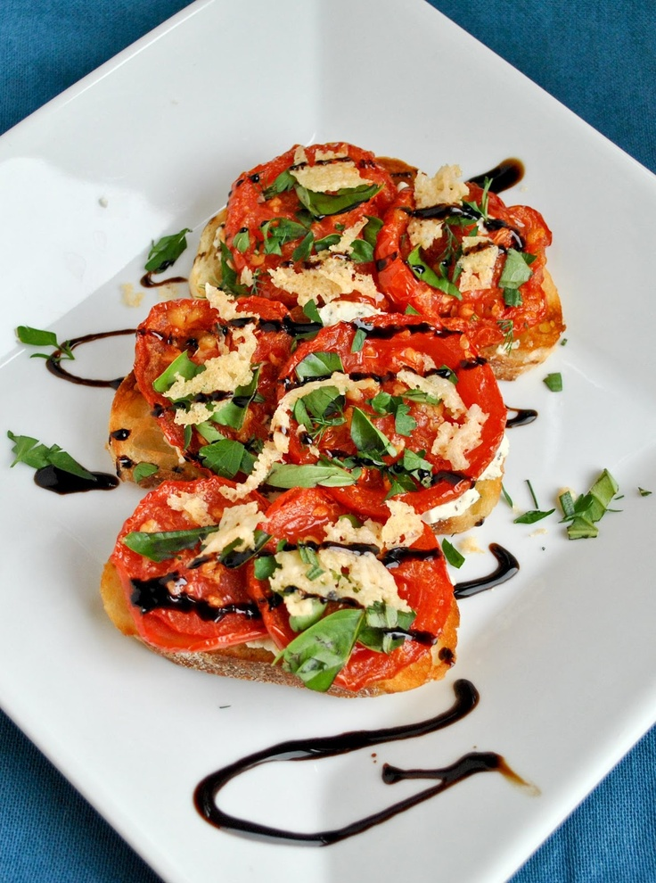 Open Face Roasted Tomato & Goat Cheese Sandwiches with Parmesan Crisps
