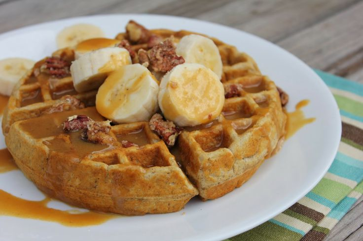 Banana Bread Waffles with Browned Butter Syrup by Deals to Meals