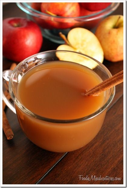 mulled apple cider - crockpot. Lots of spice & orange, sounds good.