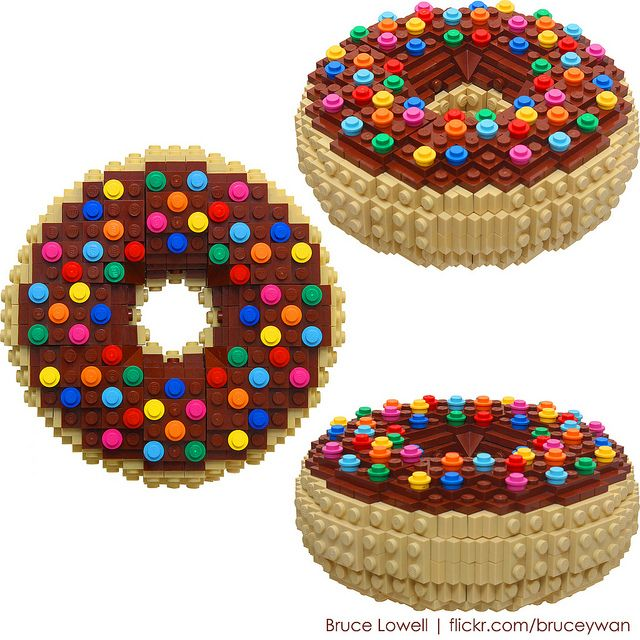 Lego donuts, chocolate-covered of course. Really making me hungry!