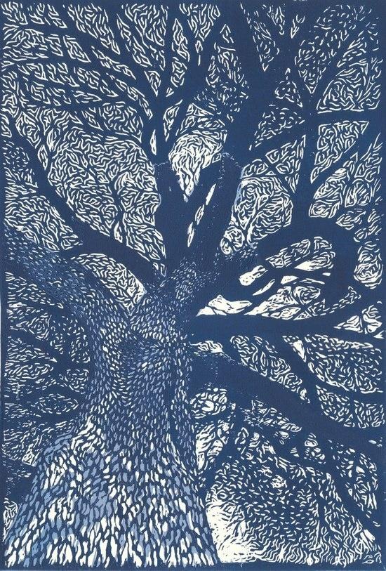 Linocut tree art pinterest