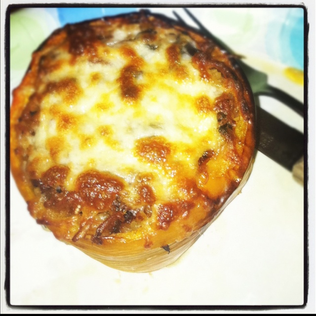 Stuffed Pepper with ground up italian sausage, onion, pepper, tomato ...