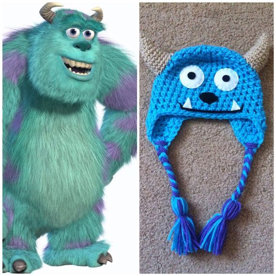 Crochet Monsters Inc Sully Earflap Beanie Hat - Etsy $15.00