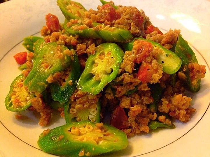 Stir fry Okra w/ ground eggplant, Chinese sausage and pork hash.