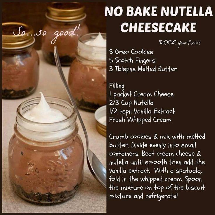 No Bake Nutella Cheesecake   Nutella Recipes :)   Pinterest