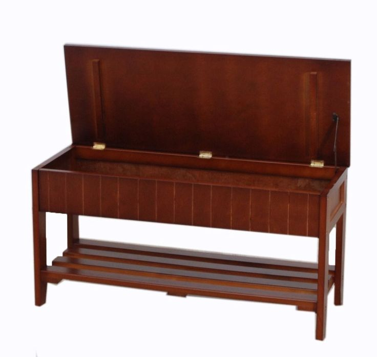 Roundhill Solid Wood Shoe Bench W Storage Cherry Mudroom Garage Entry