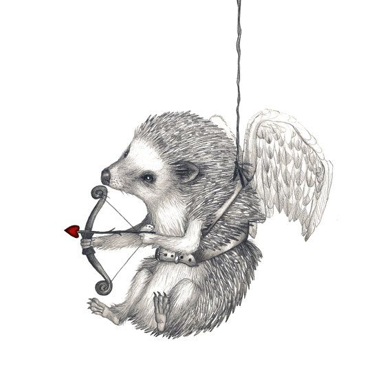 5x7 Giclee Print Happy Valentine's Day Hedgehog by HansMyHedgehog, $20.00
