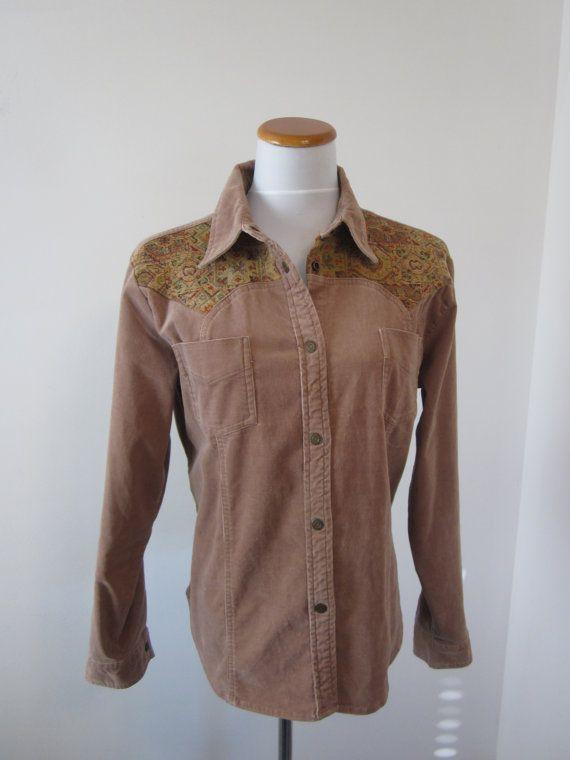Wrangler Corduroy Shirt Jacket Womens Western Shirt with Tape