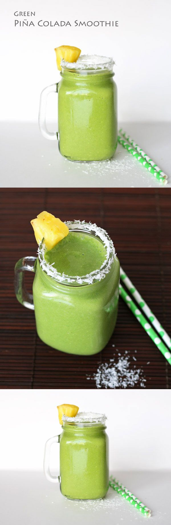 Green Pina Colada Smoothie - a super tasty and healthy green smoothie ...
