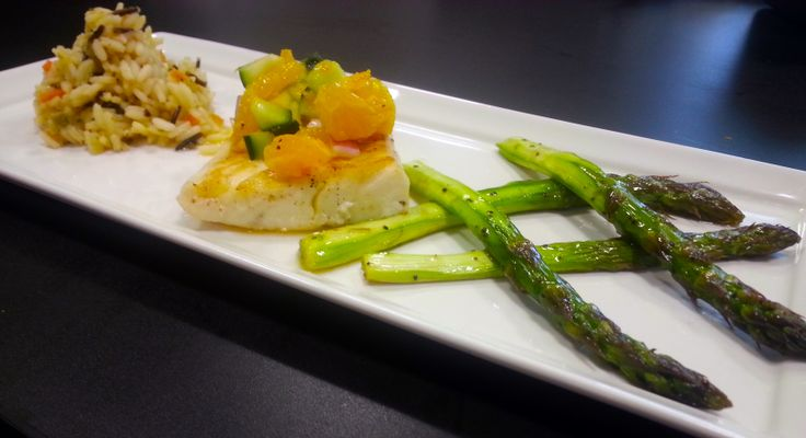 Pan Seared Halibut with Citrus Passion fruit Salsa & Roasted Asparagus ...