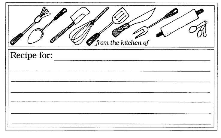 Utensils Recipe Card | Mormon Share | Beautiful classrooms ...