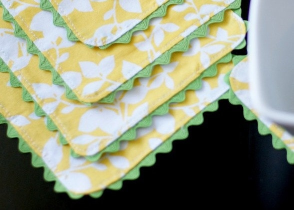 Cloth Coasters,Yellow and White, Trimmed in Green, Reversible. Set of 6.