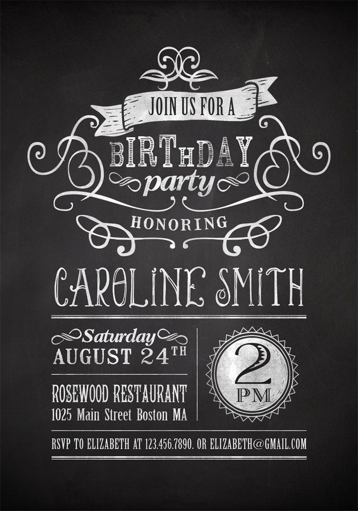 printable chalkboard birthday party invitation chalkboard writing pinterest