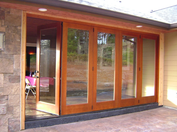 Folding exterior wood window walls products i love for Folding window wall