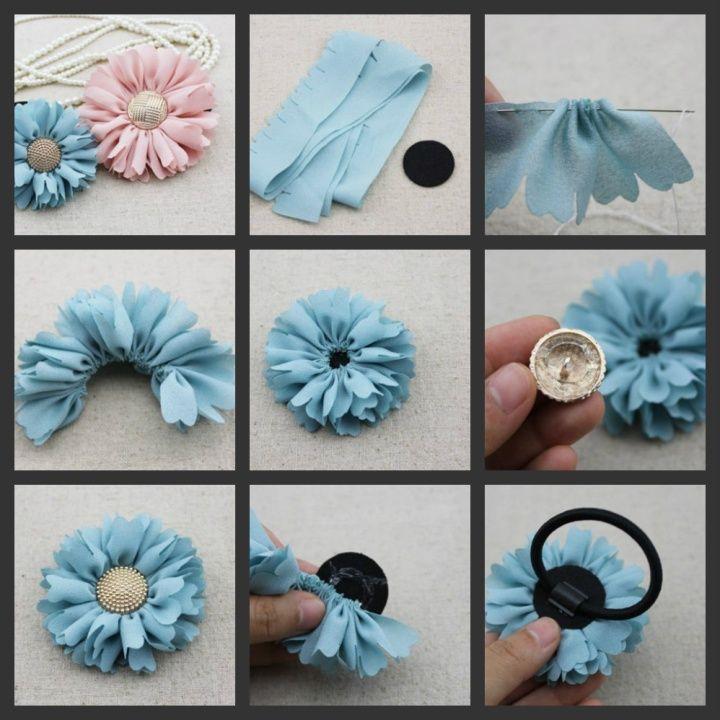 Как сделатьцветок из ткани своими руками 81