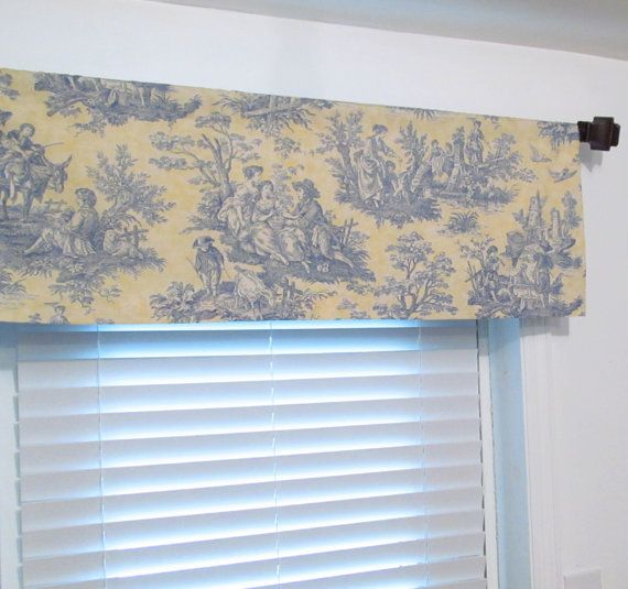 Yellow Blue TOILE Waverly Curtain Valance Handmade by OldStation, $29 ...