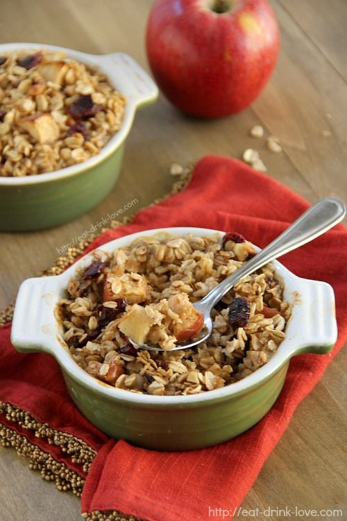 Baked Apple Cinnamon Oatmeal - This makes a lovely fall breakfast! I ...