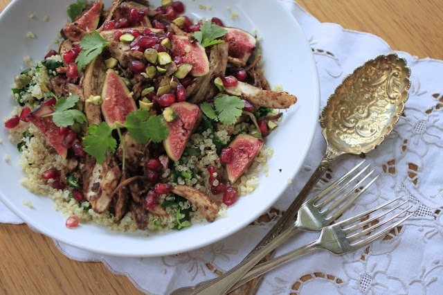 Pomegranate glazed spiced chicken and fig quinoa salad. More than your ...