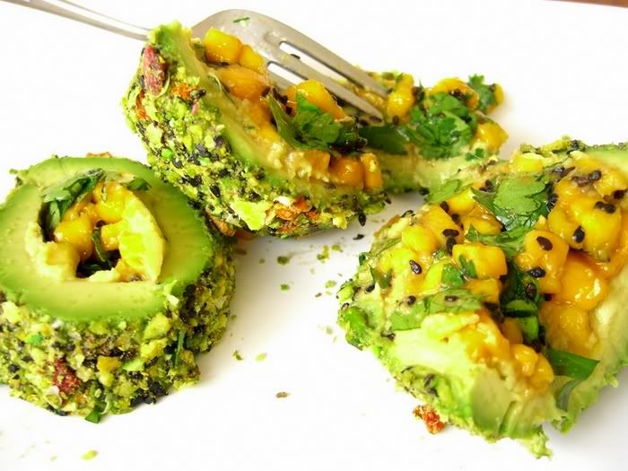 Avocado truffles, stuffed with mangos and other delicious things. this picture made my mouth water, yum!