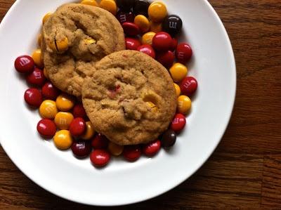 spiced m & m brown sugar cookies