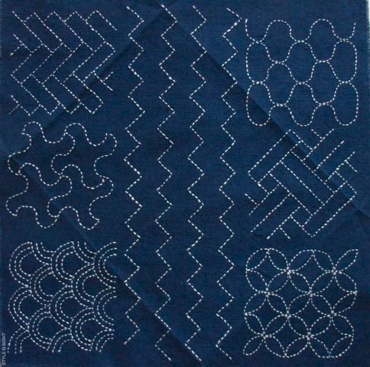 Sashiko Quilting Patterns : Japanese, denim, indigo, sashiko stitch Sashiko Pinterest