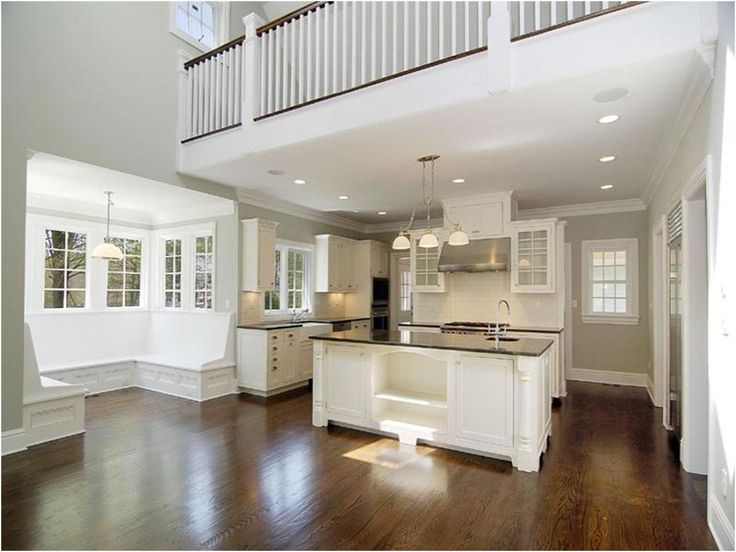 Large white kitchen with balcony above kitchen pinterest for Balcony kitchen