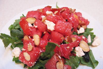 ... Party Menu - Tomato Watermelon Salad with Feta and Sliced Almonds