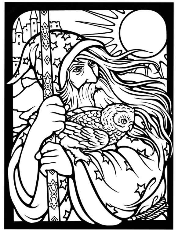wizard and dragon coloring pages - photo#8