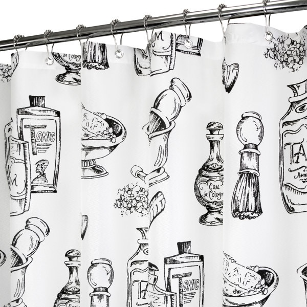 """... Black & White 72"""" x 72"""" WaterShed® Shower Curtain - Bed Bath & Beyond"""