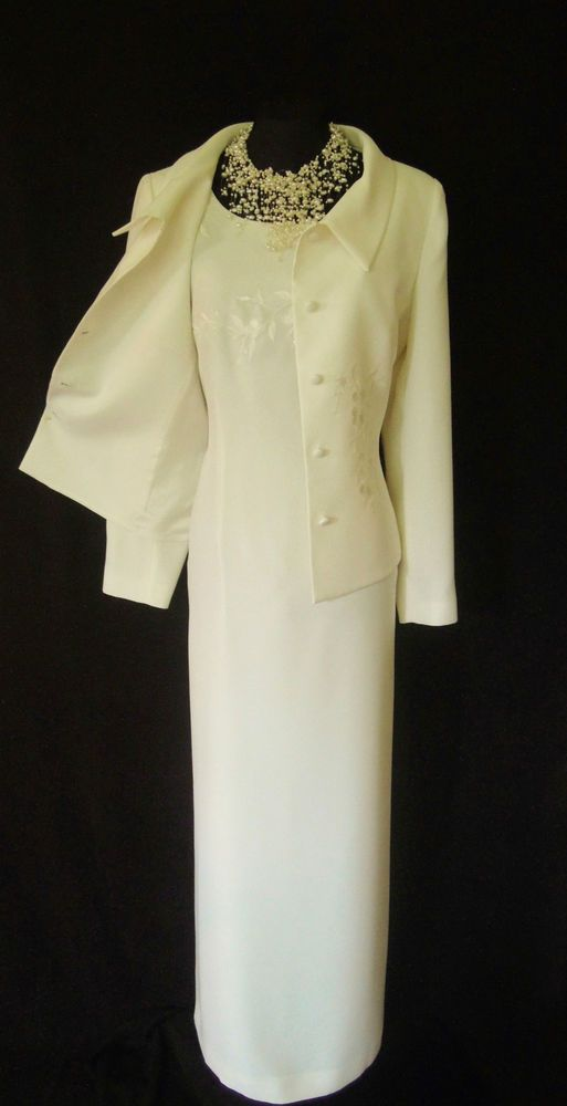 Condici wedding outfit size 14 cream dress and jacket suit for Wedding guest dresses size 14