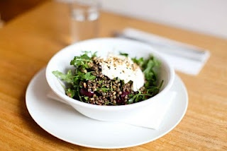 Warm lentil salad with roasted beetroot and carrots, greek yoghurt and ...