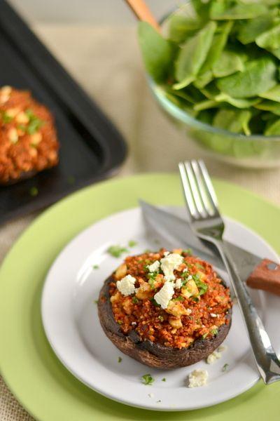 Roasted Red Pepper and Feta Quinoa Stuffed Portobellos - Food Doodles ...