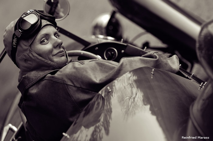 Female Racer Vintage Black And White Portrait Photography